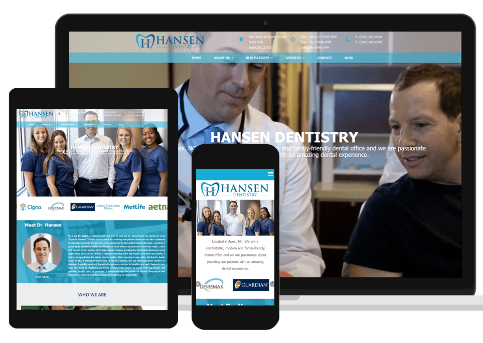 SEO dentist client website on laptop, tablet, and mobile devices
